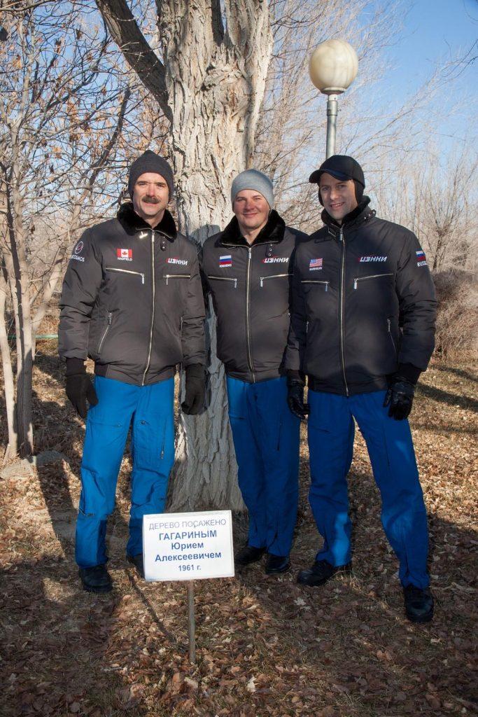 Chris Hadfield, Yuri Gagarin ağacı yanında.