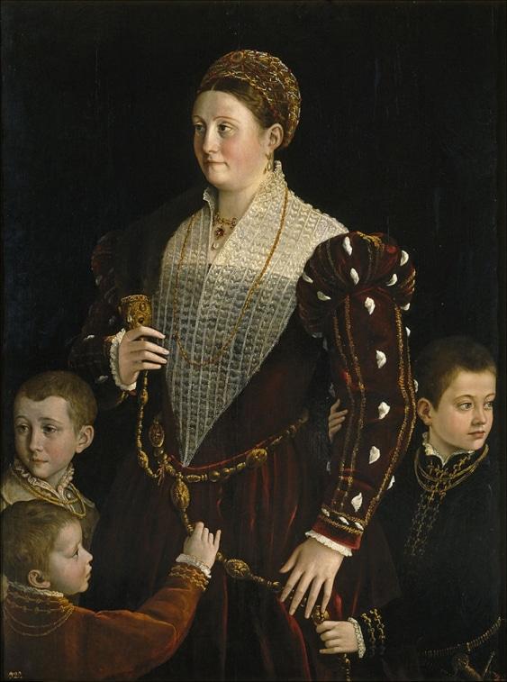 Üç erkek çocuğu olan Camilla Gonzaga  dın portresi