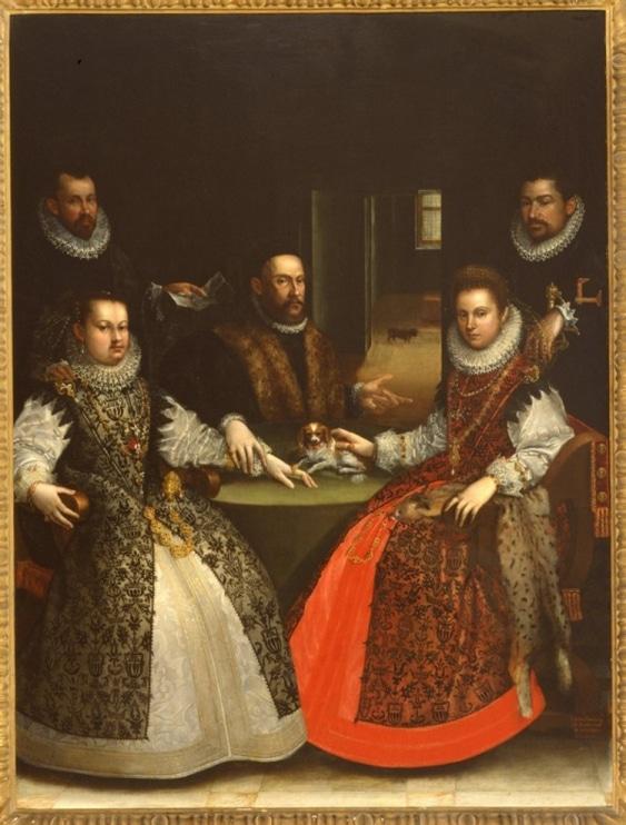 3 çocuk doğuran soldaki kardeşte gelincik, kısır olan sağdaki kardeşte vaşak kürkü olan aile portresi
