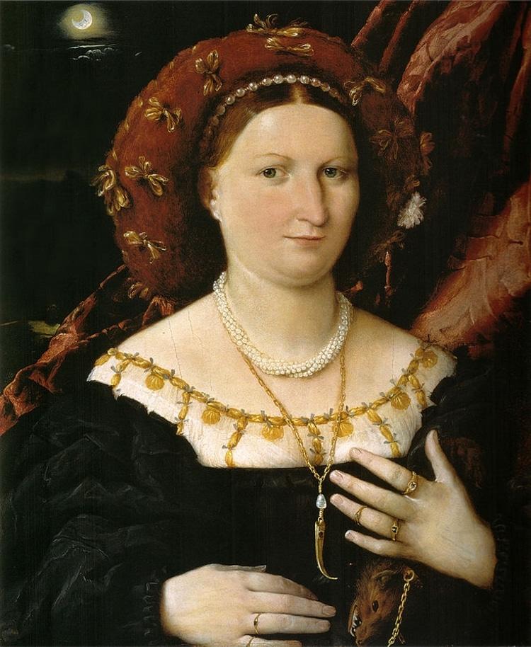 Belinde gelincik olan Lucina Brembati portresi. Arka planda ay var.