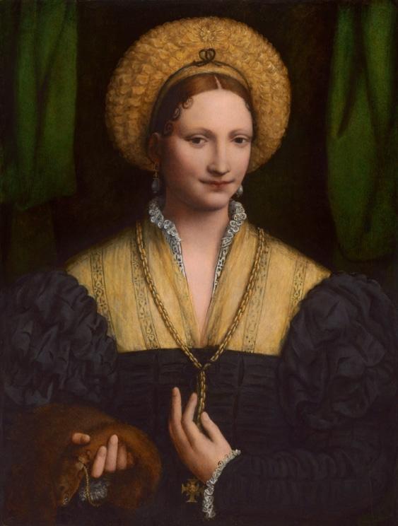 Bir kadının portresi. elinde gelincik var.