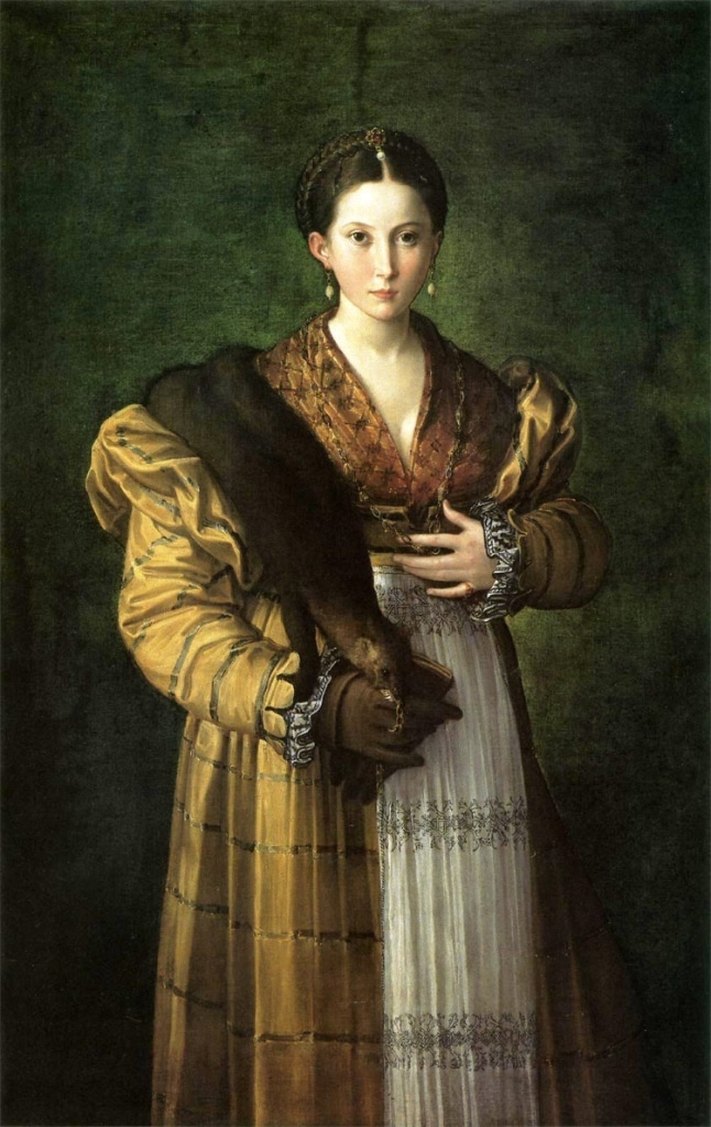 Omzunda gelincik kürkü olan Antea portresi
