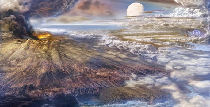 patlayan volkan, bulutlat ve ayın göründüğü bir sanatçı çalışması