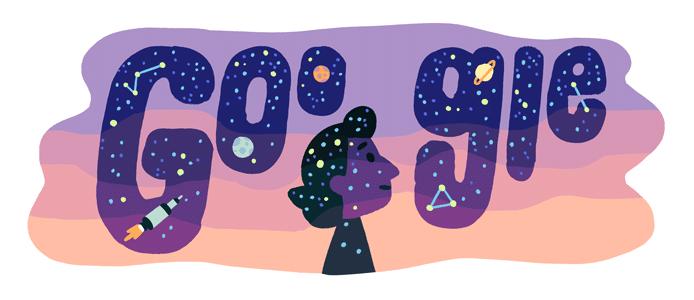 Google'ın yaptığı Dilhan Eryurt Doodle'ı Google yazısı ortasında Dilhan Eryurt'un silüeti var. Arka fonda alaca gökyüzü var.