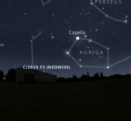 Stellarium uygulamasında neowiseın nasıl göründüğünü gösteren bir görsel.