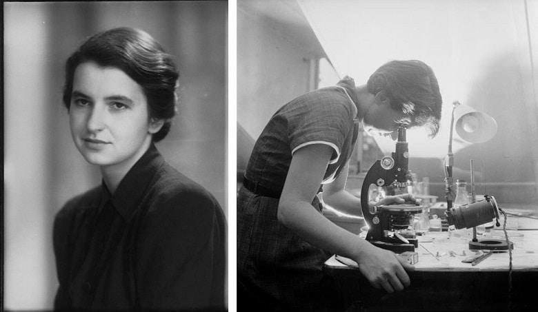 roslaind frankin vesikalık fotoğrafı ve mikroskopta çalışırken çekilmiş fotoğrafı