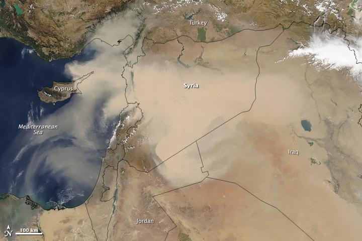 Suriye'den Türkiye ve Akdeniz-Kıbrıs üzerine dağılan toz fırtınası