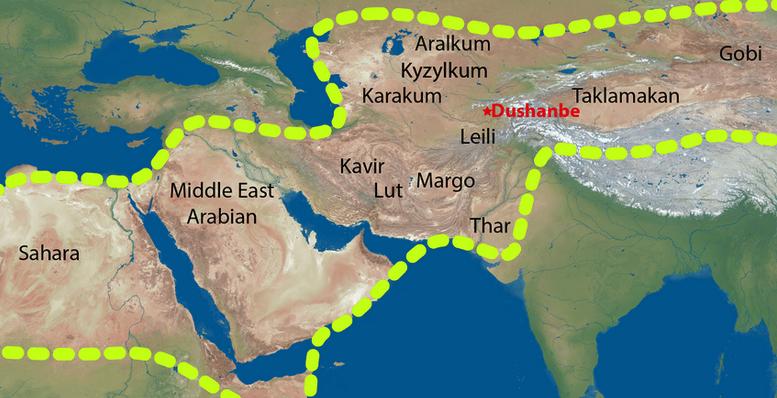 Sahara, Arap Yarımadası, Kavir, Lt, Margo, Thar, Karakum, kızılkum, aralkum, Taklamakan ve Gobi çölünü birarada gösteren tozlu kuşak haritası