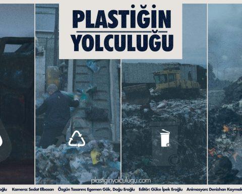 plastiğin yolculuğu belgesel afişi. çöp geri dönüşüm ve depolama tesislerinden görüntüler var afişte. soluk renkli.